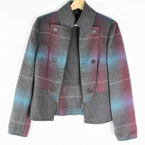 Vintage Escada 100% Cashmere Plaid Blue Blazer 36